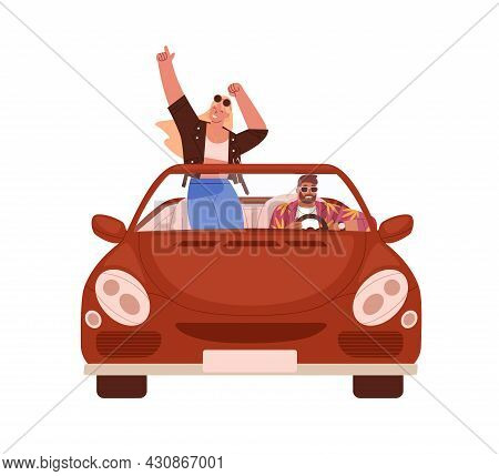 Happy Romantic Couple Traveling By Car. People In Cabrio At Road Trip. Man Driving Convertible With