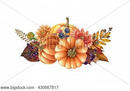 Floral Pumpkin Autumn Arrangement. Watercolor Illustration. Hand Drawn Rustic Festive Decor With Pum