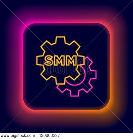 Glowing Neon Line Smm Icon Isolated On Black Background. Social Media Marketing, Analysis, Advertisi