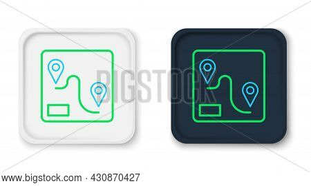 Line Route Location Icon Isolated On White Background. Train Line Path Of Train Road Route With Star