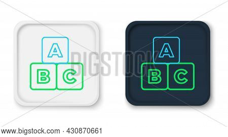 Line Abc Blocks Icon Isolated On White Background. Alphabet Cubes With Letters A, B, C. Colorful Out