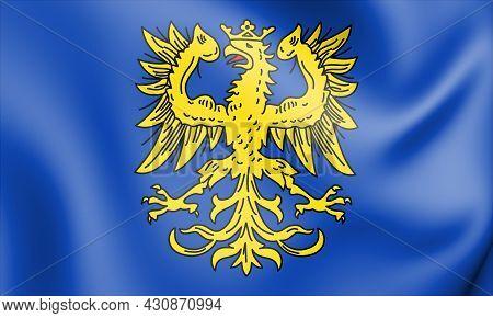 3d Flag Of Germersheim (rhineland-palatinate), Germany. 3d Illustration.