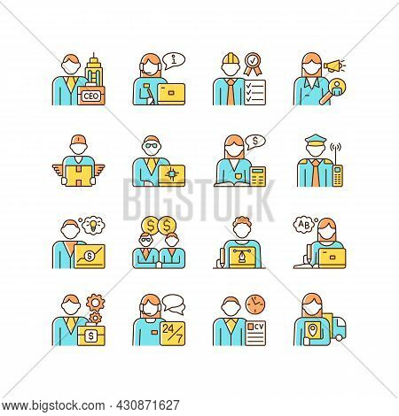 Company Staff Related Rgb Color Icons Set. Chief Executive Officer. Customer Support. Sales Represen