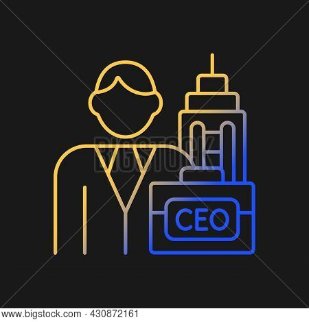 Chief Executive Gradient Vector Icon For Dark Theme. Ceo Of Corporation. Chief Executive Officer. Bo