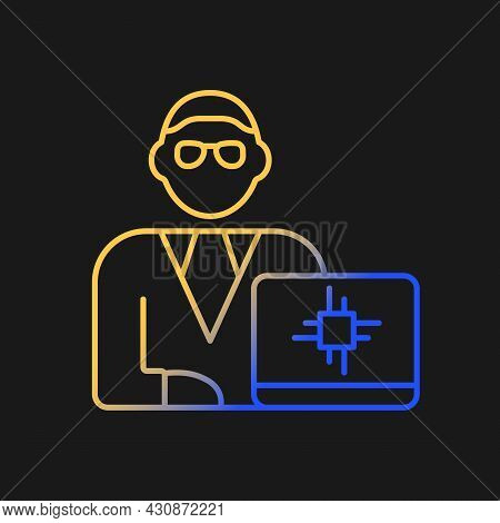 Chief Technology Officer Gradient Vector Icon For Dark Theme. Scientific And Technological Occupatio