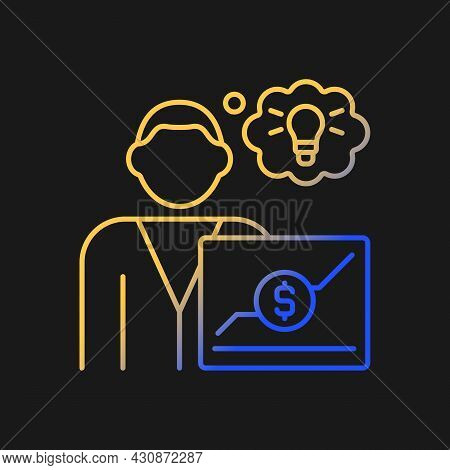 Business Analyst Gradient Vector Icon For Dark Theme. Reswarch Business Processes And Documents. Cre