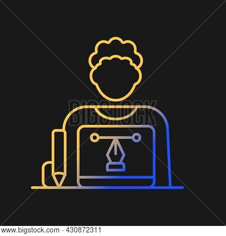 Graphic Designer Gradient Vector Icon For Dark Theme. Creating Websites And Advertisment. Visual Art