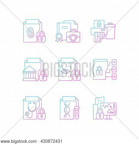 Confidential Information Types Gradient Linear Vector Icons Set. Biometric Data. Paper Shredding. Na