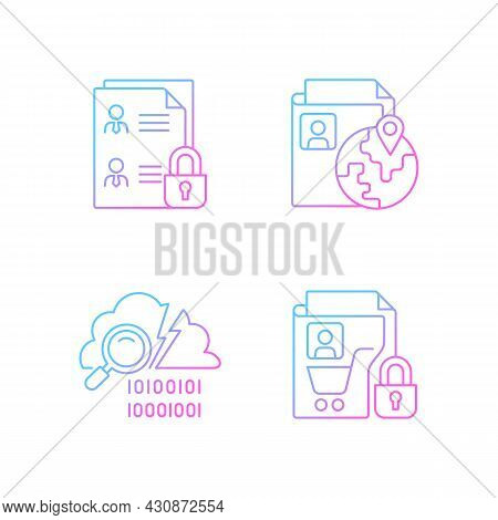 Maintain Information Security Gradient Linear Vector Icons Set. Employee Files. Ethnic Origin. Data