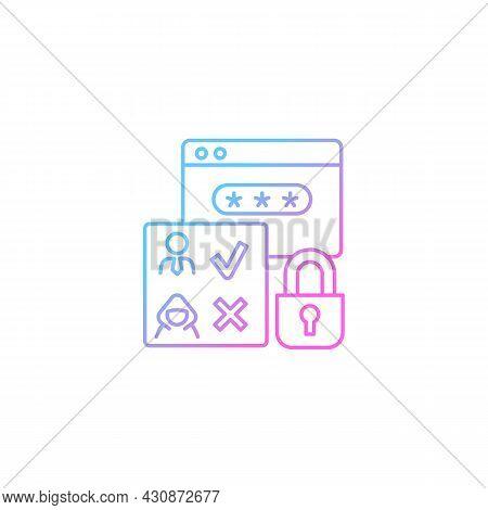 Access Control Gradient Linear Vector Icon. Authorization. Selective Restriction. Prevent Unauthoriz