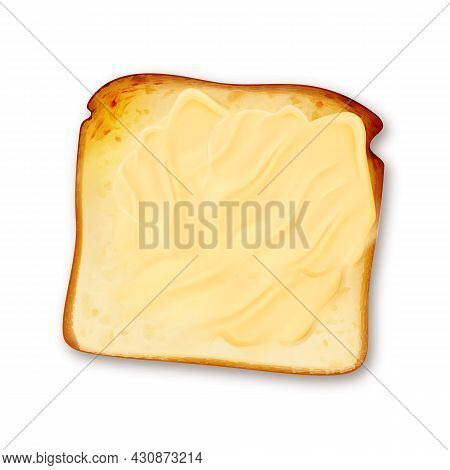 Toast Fried Bread Piece With Fatty Butter Vector. Toasted Sandwich Slice With Delicious Fat Butter,