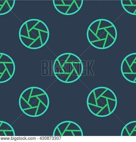 Line Camera Shutter Icon Isolated Seamless Pattern On Blue Background. Vector