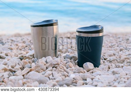 Tourist Food For Outdoor Activities. Thermo Cups On A Summer  Background. Enjoy A Tasty Food During