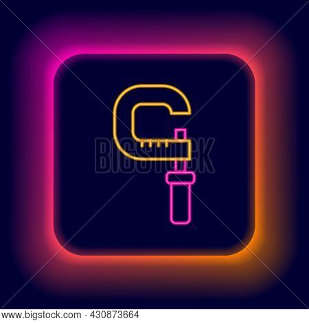 Glowing Neon Line Micrometer Icon Isolated On Black Background. Measuring Engineer Tool. Universal D