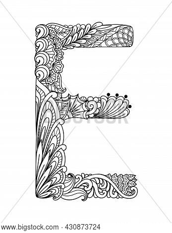 Mandala Letter E For Coloring Book,coloring Page, Laser Cutting,engraving, Printing On Product And S