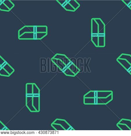 Line Eraser Or Rubber Icon Isolated Seamless Pattern On Blue Background. Vector