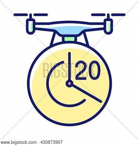 Maximum Flight Time Rgb Color Manual Label Icon. Twenty Minutes Limitation. Flight Duration. High-qu