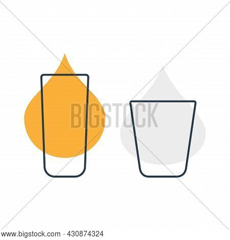 Two Glasses With Rum And Vodka. Shot Glass Drinks. Template Alcohol Beverage For Restaurant, Bar. Sy