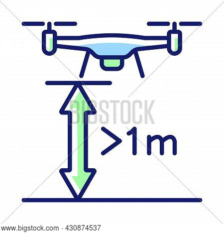 Minimum Flight Height Rgb Color Manual Label Icon. Minimal Drone Altitude. Fly At Least One Meter Fr