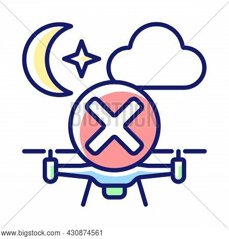 Dont Fly Drone At Night Rgb Color Manual Label Icon. Daylight-only Operation. Anti-collision Lights