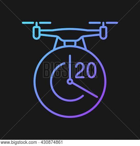 Maximum Flight Time Gradient Vector Manual Label Icon For Dark Theme. Twenty Minutes Limit. Thin Lin