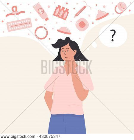 Pensive Woman Choosing Contraception Method. Thoughtful Female Person Thinking About Contraceptives.