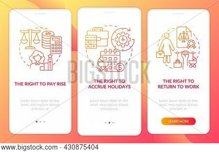 Maternity Leave Employee Rights Red Gradient Onboarding Mobile App Page Screen. Walkthrough 3 Steps