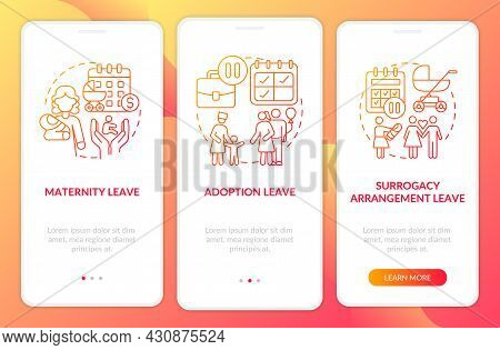 Maternity Leave Types Red Gradient Onboarding Mobile App Page Screen. Walkthrough 3 Steps Graphic In