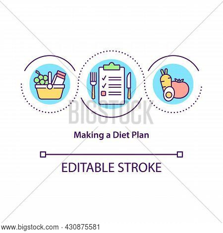 Making Diet Plan Concept Icon. Healthy Nutrition Abstract Idea Thin Line Illustration. Plan Menu Ric