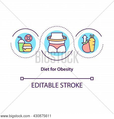 Diet For Obesity Concept Icon. Healthy Lifestyle Abstract Idea Thin Line Illustration. Low-sugar And