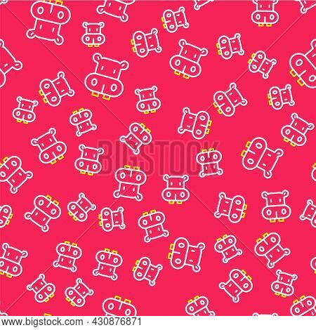 Line Hippo Or Hippopotamus Icon Isolated Seamless Pattern On Red Background. Animal Symbol. Vector