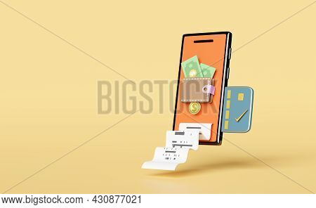 Wallet And Orange Mobile Phone,smartphone With Coins,dollar Banknote,credit Card, Invoice,paper Rece