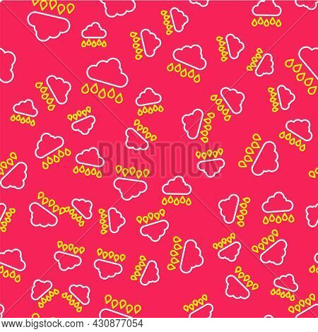 Line Cloud With Rain Icon Isolated Seamless Pattern On Red Background. Rain Cloud Precipitation With