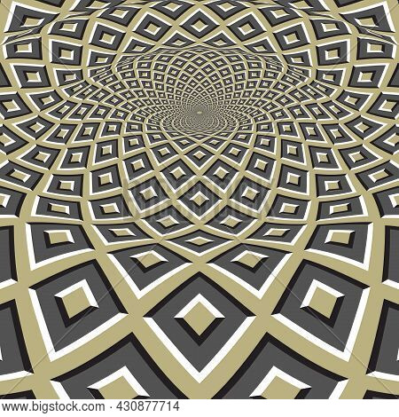 Moving Optical Illusion Vector Abstraction. Splash On The Surface Of Green Gray Square Pattern.