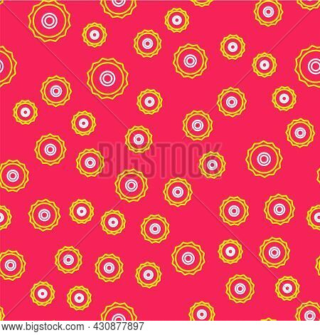 Line Circular Saw Blade Icon Isolated Seamless Pattern On Red Background. Saw Wheel. Vector