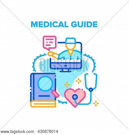 Medical Guide Vector Icon Concept. Medical Guide Book For Doctor Learning Treatment At Hospital For