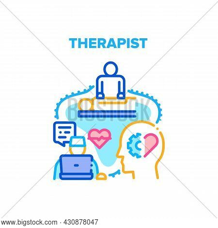 Therapist Doctor Vector Icon Concept. Therapist Doctor Online Examination And Diagnosis, Online Comm