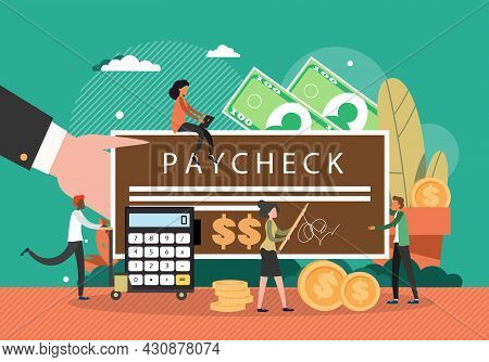 Tiny Characters Signing And Giving Paycheck To Male Employee, Flat Vector Illustration. Check For Sa