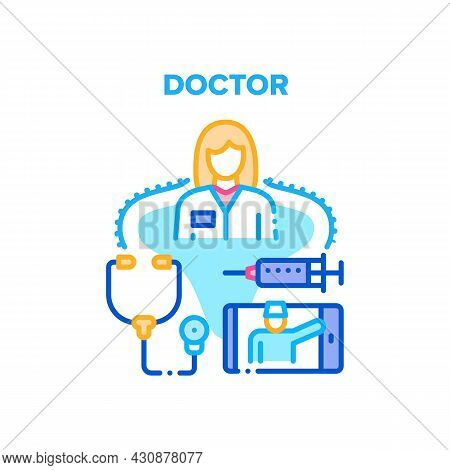 Doctor Worker Vector Icon Concept. Woman Doctor Worker With Stethoscope Tool For Examination Patient