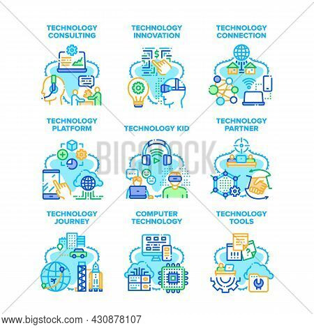 Computer Technology Set Icons Vector Illustrations. Computer Technology And Innovation Platform, Par