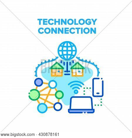 Technology Connection Vector Icon Concept. Wifi Wireless Internet Network Connect Mobile Phone And C