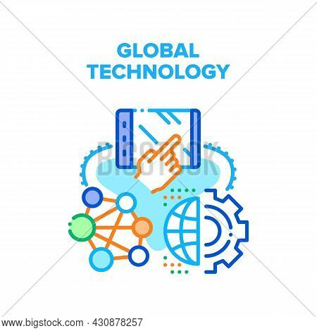 Global Technology Vector Icon Concept. Global Technology For Worldwide Communication And Online Vide