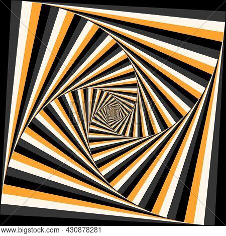 Four-sleeved Unwinding Spiral Of Color Stripes. Moving Optical Illusion Vector Background.