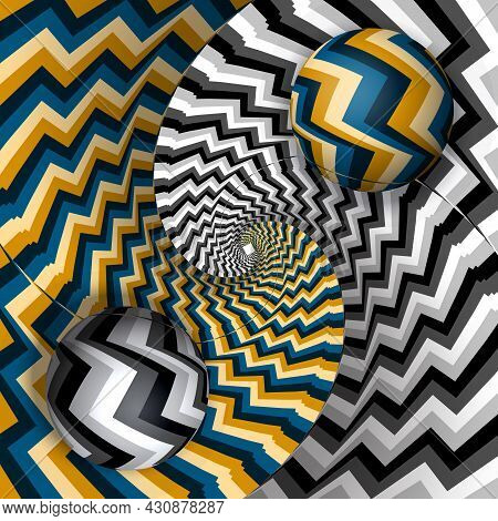 Balls On Spiral Of Color And Monochrome Streams. Moving Optical Illusion Vector Surreal Abstraction.