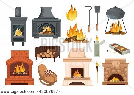 Fireplaces And Hearths Design Elements Set. Collection Of Various Fireplaces, Fire, Burning Wood, Po
