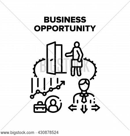 Business Opportunity Vector Icon Concept. Business Opportunity And Choosing Company Way, Entrepreneu