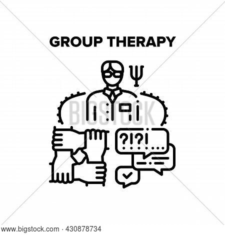 Group Therapy Vector Icon Concept. Counselor Therapist Doctor Coach Psychologist Speak And Counselin