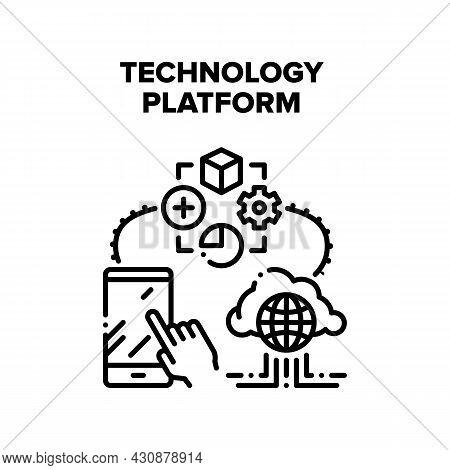 Technology Platform Vector Icon Concept. Technology Platform Application For Using Smartphone Gadget