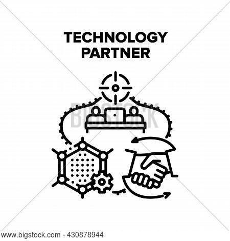 Technology Partner Vector Icon Concept. Technology Partner Programmer For Coding And Developing Appl