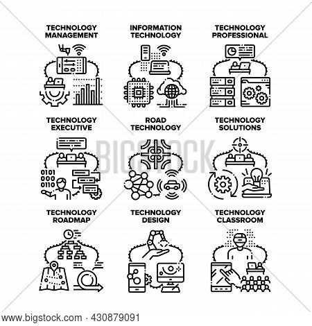 Technology Solution Set Icons Vector Illustrations. Technology Solution And Professional Management,